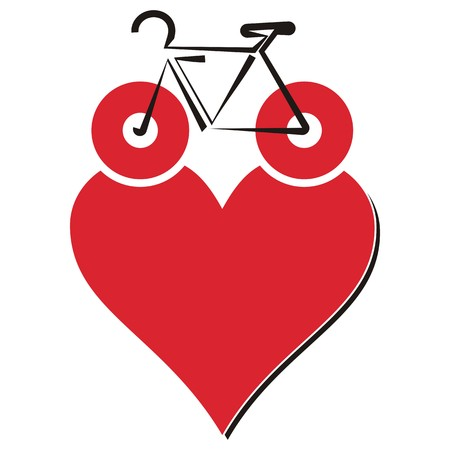 I love my bike icon with heart on white background