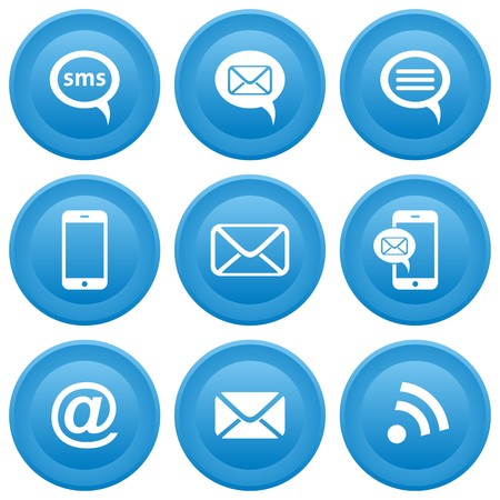 Round blue buttons with communication icons, mobile, sms, e-mail Vector