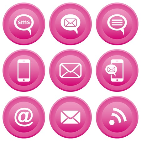 address book: Round pink buttons with communication icons, mobile, sms, e-mail