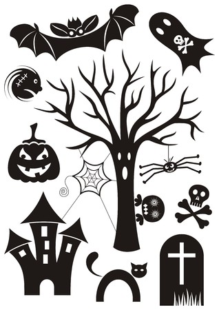 Scary set of black happy halloween theme silhouette icons Vector