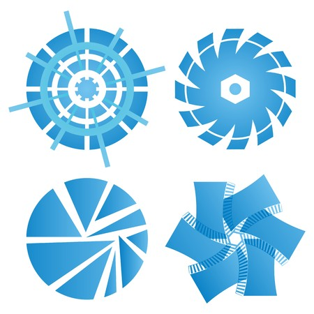 Set of four blue abstract circular technical ornaments on white background Vector