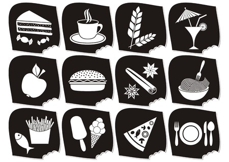 apple cinnamon: Set of twelve black and white food and drink icons
