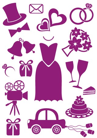 Set of violet silhouette icons for wedding cards and invitations Vector