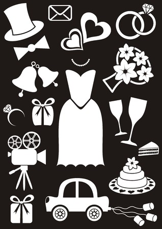 hand bell: Set of black and white silhouette icons for wedding cards and invitations