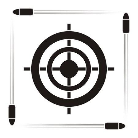 Obiettivo simbolo pratica con target e pallottole su sfondo a strisce