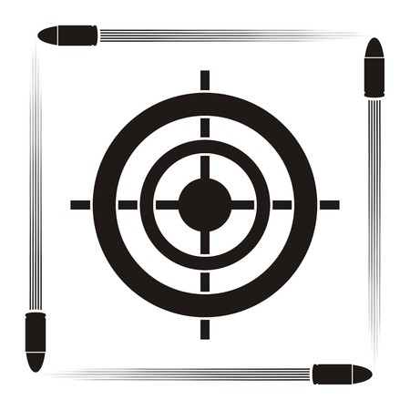 Target practice symbol with target and flying bullets on striped background