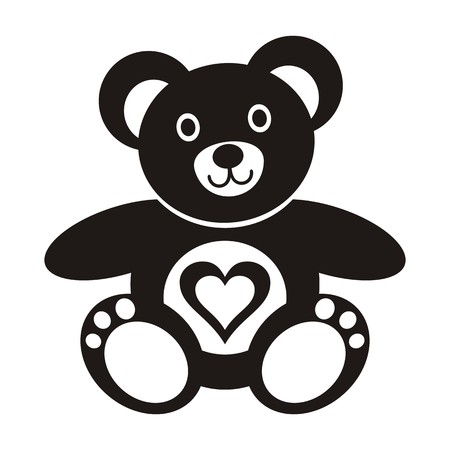 Cute black teddy bear icon with heart on white background Vector