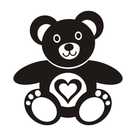 oso: Negro lindo peluche �cono del oso con el coraz�n en el fondo blanco Vectores