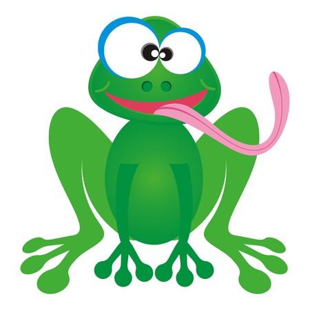 lengua larga: Personaje de dibujos animados rana verde feliz con larga lengua rosada