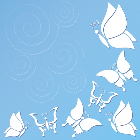 Vector blue background with butterflies Stock Vector - 22560577