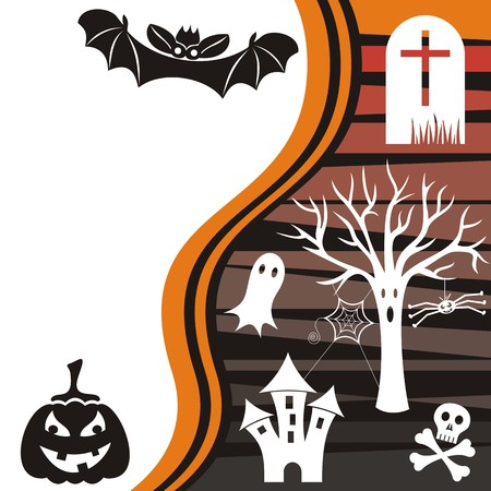 Vector halloween card with black bat and pumpkin Vector