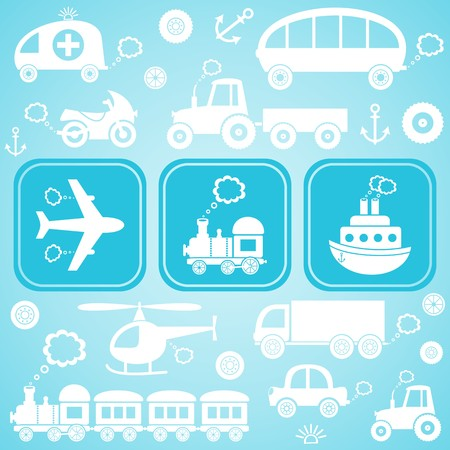 Card with white means of transport icons ob light blue background Vector