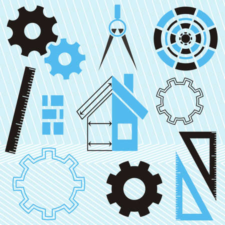 Set of house construction and real estate tools icons Vector