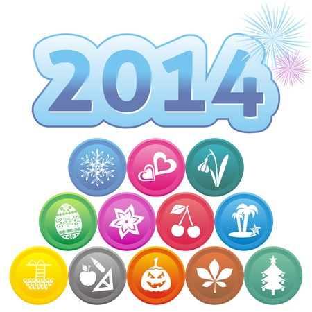 New Year 2014 card with set of month symbols Vector