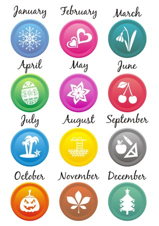 Original set of colourful calendar icons with month symbols and names Vector