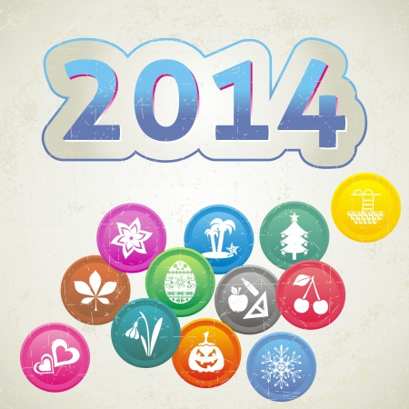 Retro New Year 2014 card with set of month symbols Vector