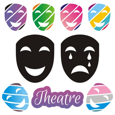 Set of black and colorful theatrical mask on white background