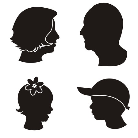 black family: Set of black family members heads silhouettes on white background