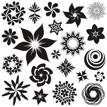 식물상: 검은 색과 흰색 꽃 기호 및 장식품 세트, 두 번째 세트