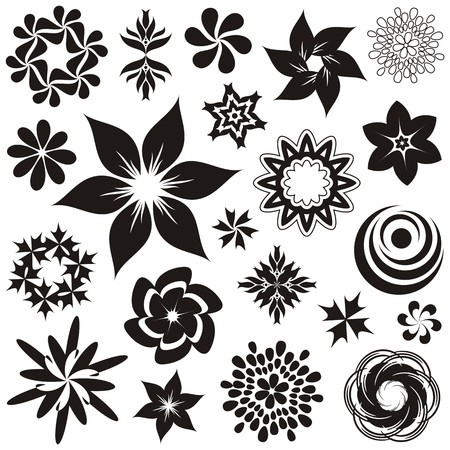 Set of black and white flower symbols and ornaments, second set Vector
