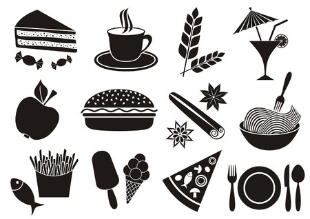 Set of black food and beverage icons isolated
