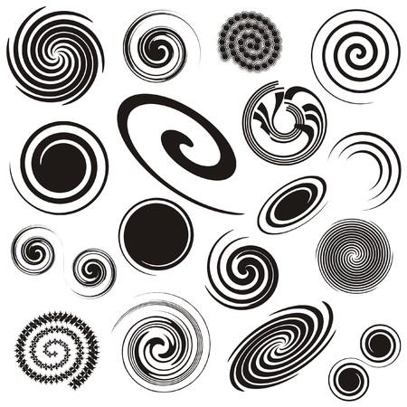 Set of different spiral design elements - vector illustration