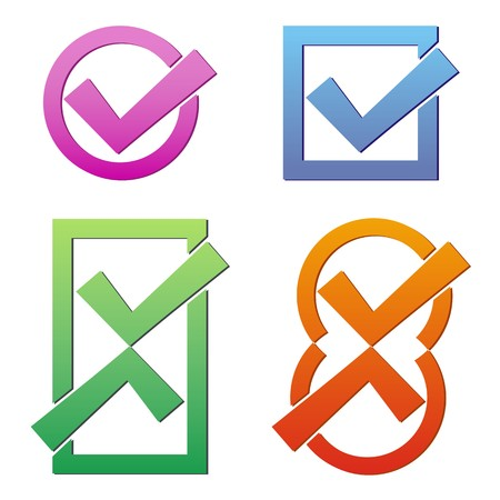 Set of four colorful tick icons on white background