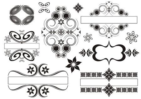 caligraphic: Set of vintage emblems made of calligraphic elements Illustration