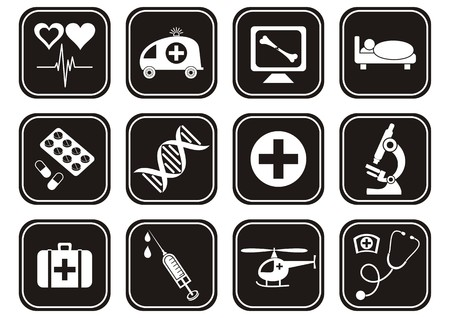 set of white medical and science icons in black squares Vector