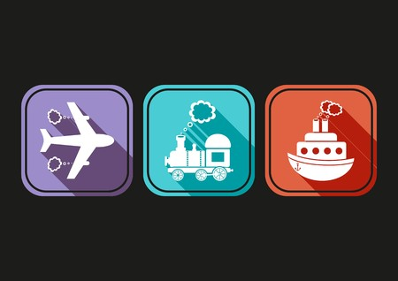 Modern simple means of transport icons with flat design Vector