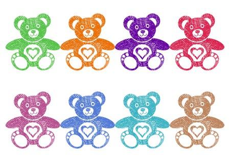 Set of cute coloured teddy bears with heart Stock Vector - 22560816