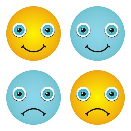 Set of four happy and sad emoticons - yellow and blue Vector