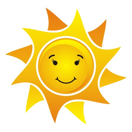 smiling suns on white background isolated- vector illustration Vector