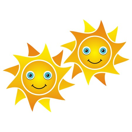 Two smiling suns on white background- vector illustration Vector