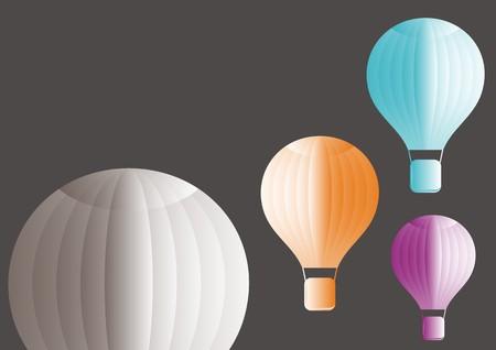 Four vector hot air balloons background - coloured Vector