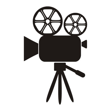 Black movie camera icon on a white background - vector illustration Illustration