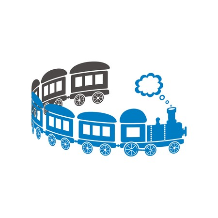 Leuke blauwe trein op een witte achtergrond - krullen vormig.