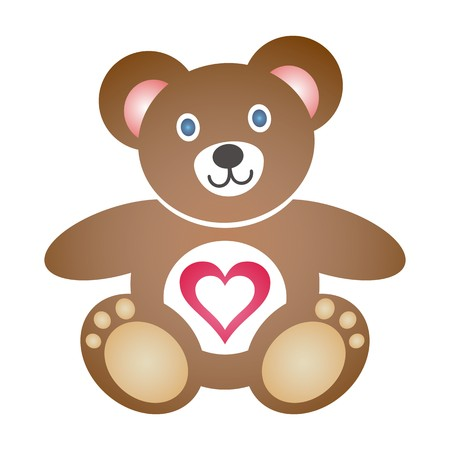 Cute coloured teddy bear icon with heart on white background Vector