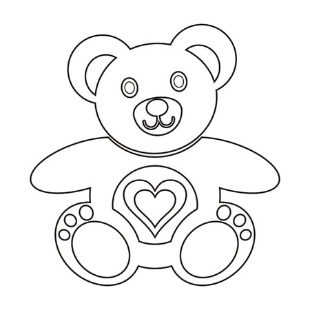 Cute teddy bear colouring picture with heart on white background Stock Vector - 22645446