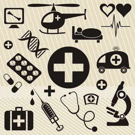 Set of black medical and science icons on a light brown background Illustration