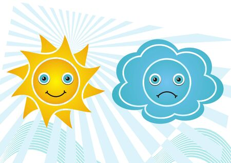 Set of happy sun and sad cloud weather icons - yellow and blue Vector