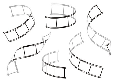 Set of six black curl movie film stripes on a white background