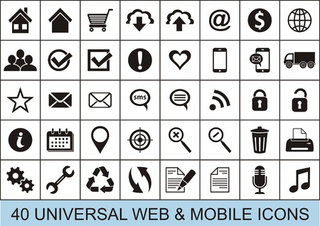 application recycle: 40 black universal original icons for web and mobile