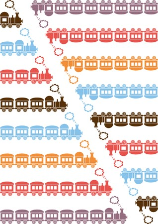 Cute coloured trains with different numbers of carriages Illustration