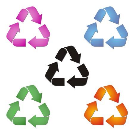 set van gekleurde recycle symbolen op een witte achtergrond
