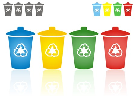 recycling bin: set of four coloured recycling bins - waste sorting