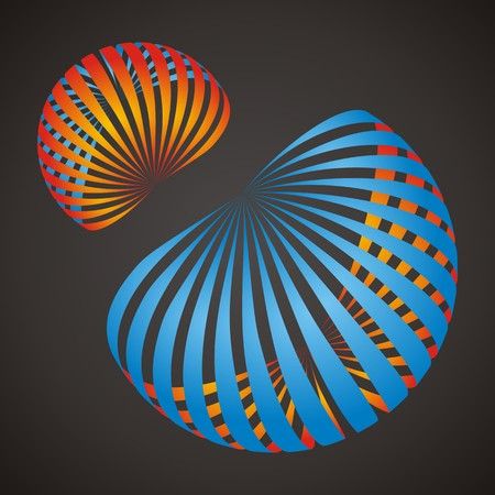 looped: Two looped shape icons. Business abstract symbols. Orange and blue Illustration