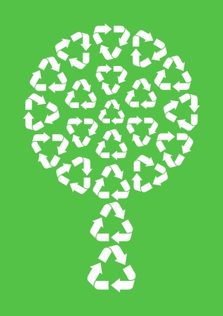 white abstract tree made of recycle symbols on green background Vector