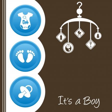 fiúk: Aranyos kisfiú zuhany tervezés - kék, fehér és barna Illusztráció