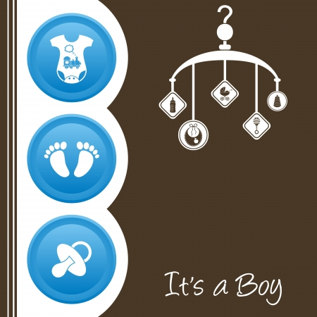 Cute baby boy shower design - blue, white and brown Vector